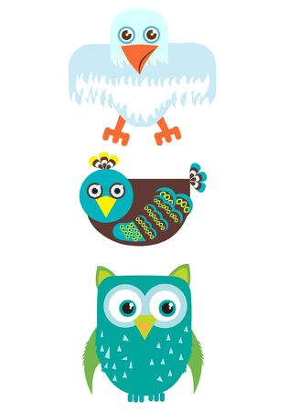 three types of birds Illustration