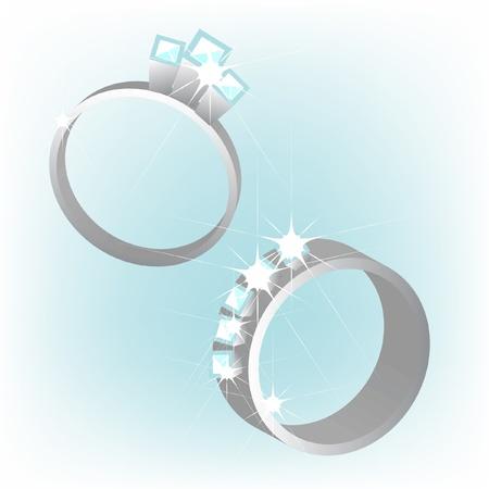 platinum wedding ring: two rings