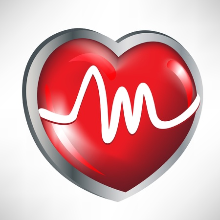 glossy red heart with heart rates