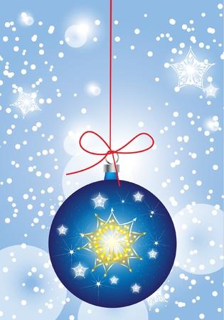 blue christmas globe in sparkling snow Vector