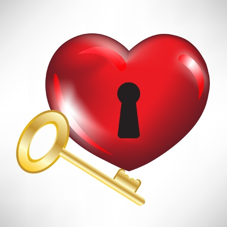 key hole: red heart with key