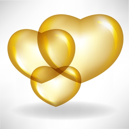 golden heart balloons Vector
