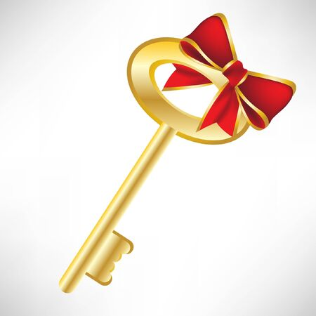 pent: golden key with red bow
