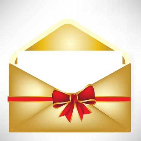 letter from santa: golden envelope Illustration