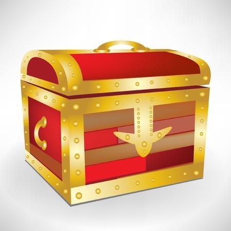 coffer: closed treasure chest Illustration