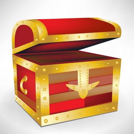 open empty treasure chest Vector