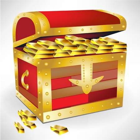 coffer: open chest with golden treasure