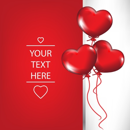 valentine card with heart shaped balloons Vector