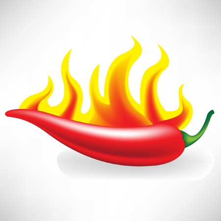 hot pepper: hot pepper in flames Illustration