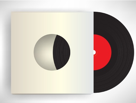 vinyl records: retro disc in sleeve Illustration