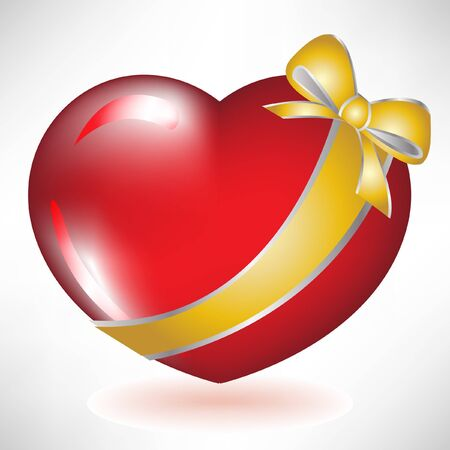 cartoon heart: red heart with golden bow