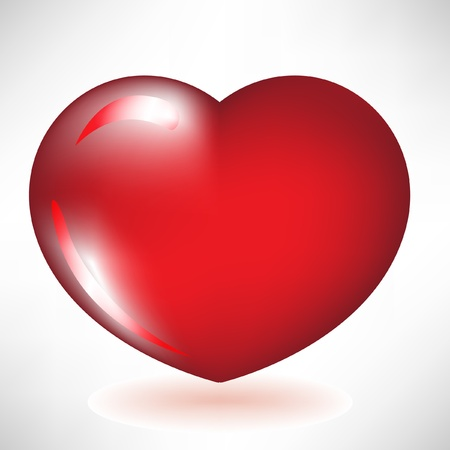simple glossy red heart Vector