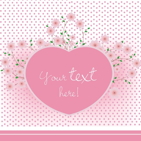 pink heart with flowers card Vector