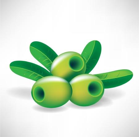 salatdressing: drei Oliven und Bl�tter Illustration