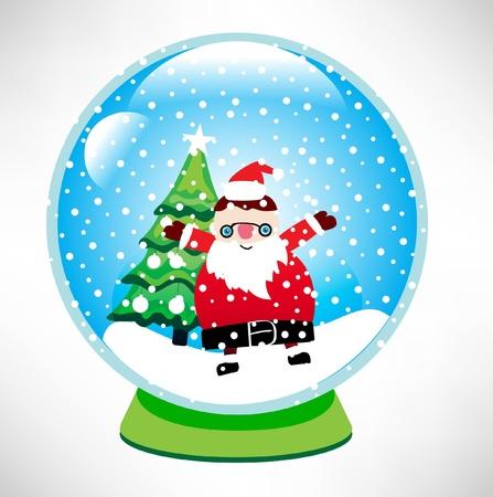 santa snow globe Stock Vector - 10851784