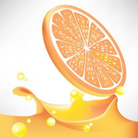 orange slice plash juice