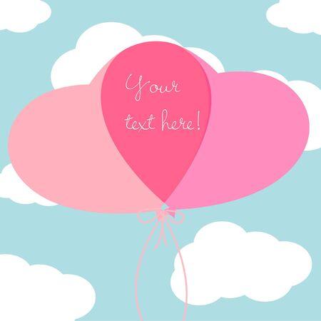 heart balloons card Vector