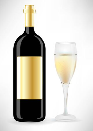 botle: botle and champagne glass Illustration