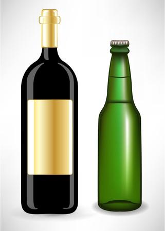 socializando: dos botellas de vidrio