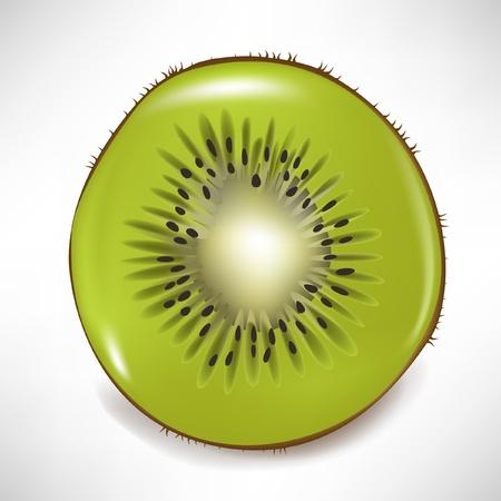 sliced fruit: sliced kiwi fruit isolated on white Illustration