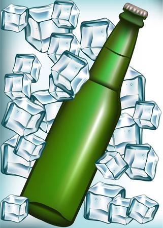 luxuriate: beer bottle in ice cubes Illustration