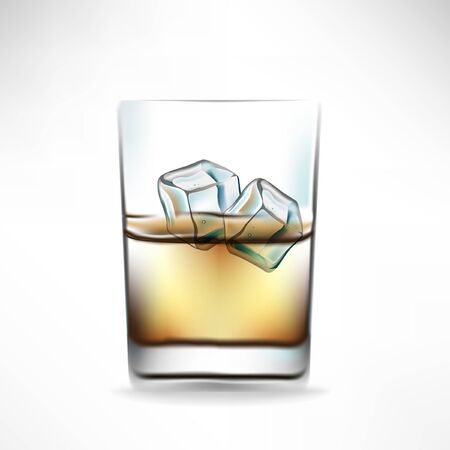 whisky glass: whisky glass with beverage and two cocktails Illustration
