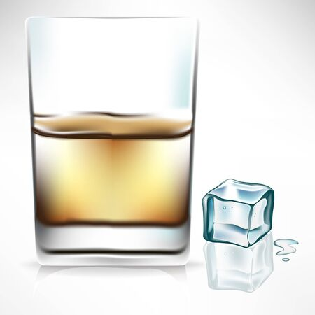 whisky glass: whisky glass with ice cube on the side Illustration