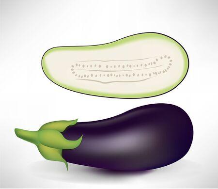 aubergine: realistic aubergines, half and whole