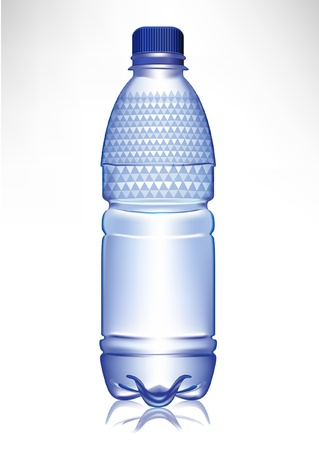 mineral water bottles: small plastic glass of water with cap and model