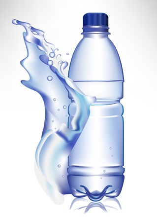 water splash isolated on white background: plastic water bottle in fresh water wave