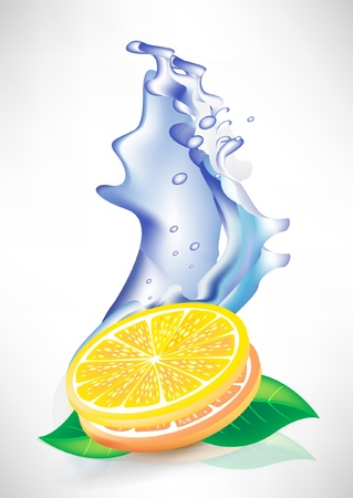 leaf water drop: water wave splash and fresh lemon slices
