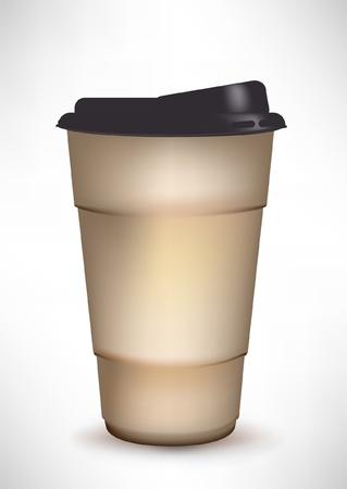 caf� � emporter: contenant du caf� avec capuchon en plastique Illustration