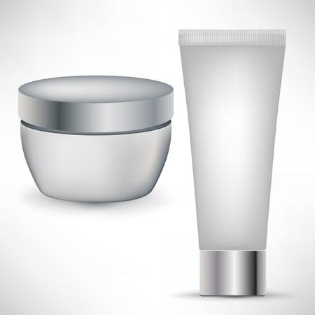 beaut� esthetique: deux conteneurs de beaut� cosm�tiques isol� sur blanc