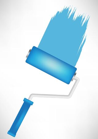 simple blue paint roller tool with trace Vector