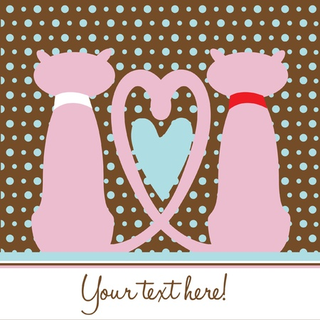two cats in love romantic card Stock Vector - 10851479