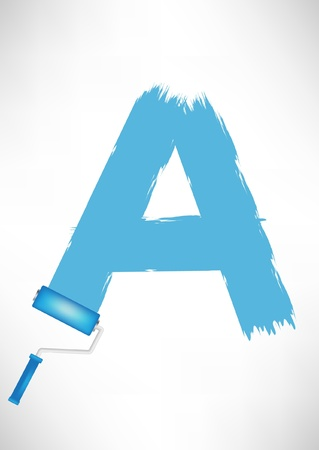 typographic letter A with paint roller trace Vector
