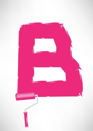 roller brush: typographic letter B with paint roller trace