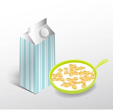 breakfast: milk box and bowl with milk and cornflakes