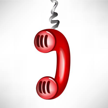 emergency number: hanging red retro phone receiver