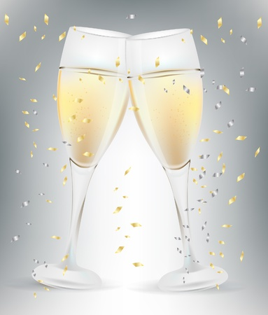 two celebration champagne glasses and confetti Vector