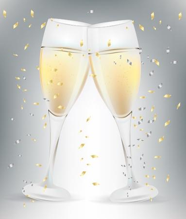 champagne celebration: two celebration champagne glasses and confetti