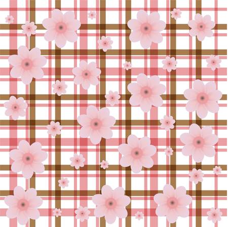 tweed: tweed rosy flower decorative background Illustration