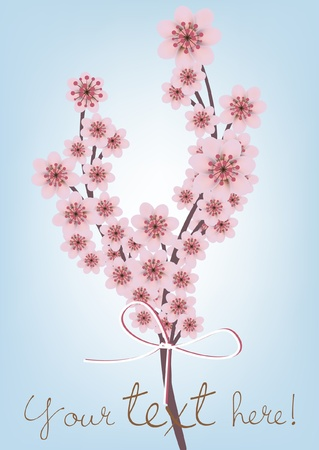 peach blossom: cherry blossomed branch card with text Illustration