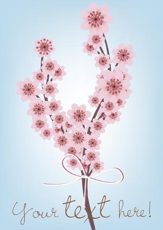 flor de durazno: tarjeta de cereza rama blossomed con texto