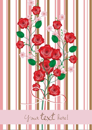 peach blossom: roses and cherry flowers branch card Illustration