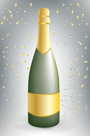 celebration champagne bottle with confetti Stock Vector - 10851740