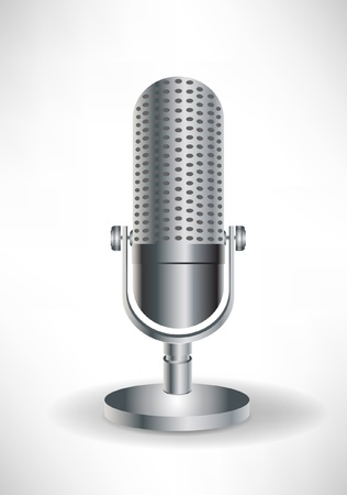 microfono antiguo: Micrófono retro simples aislados en blanco