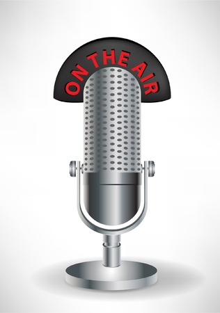 retro microphone with on the air sign isolated Vector