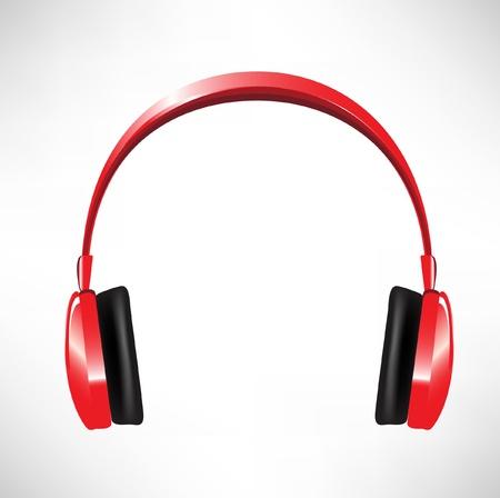 casque audio: casque rouge isol� sur blanc