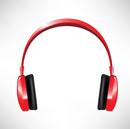 audio electronics: red headphones isolated on white